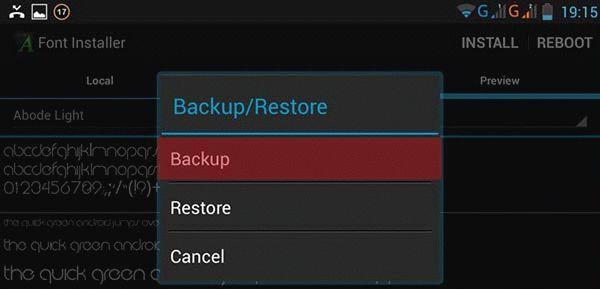 Backup шрифтов на Android