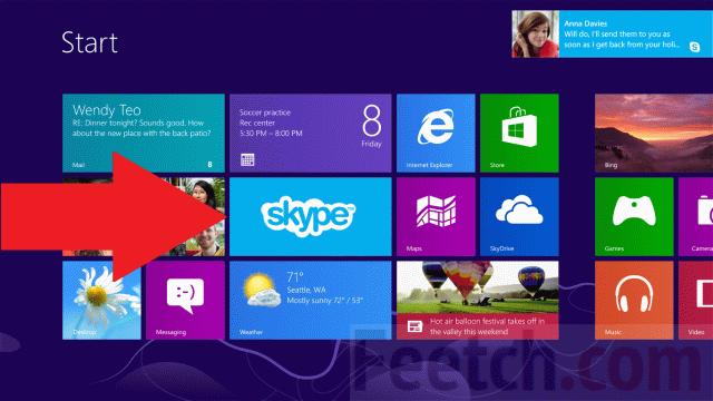 Skype на стартовом экране Windows 8