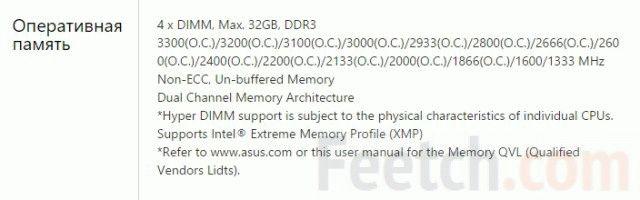 Технические характеристики оперативной памяти.
