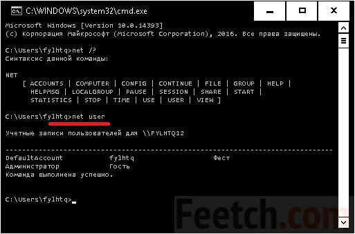 Запрос команды net user в командной строке