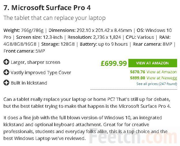 Microsoft Surface Pro 4 занимает 7 место