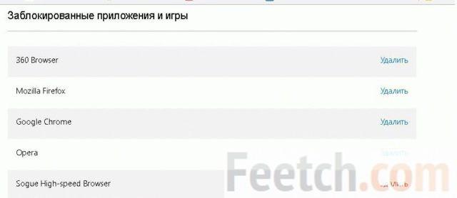 Список заблокированных приложений