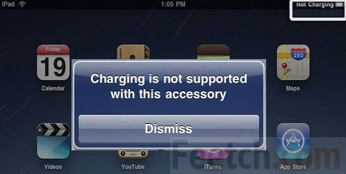 iPad не поддерживает зарядку от устройства