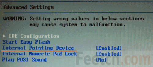 Отключение тачпада в BIOS