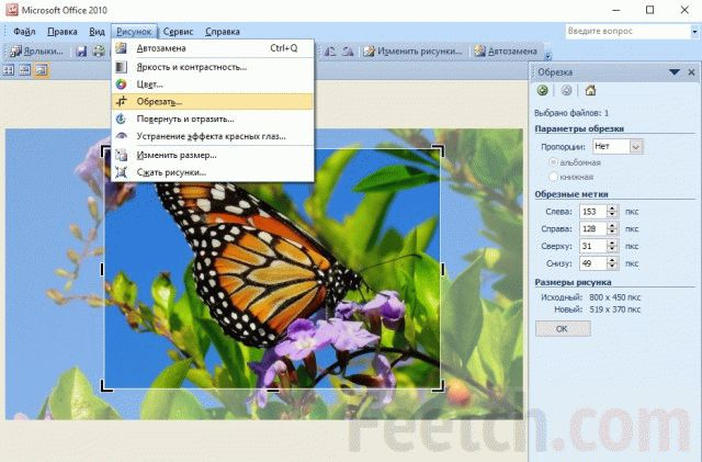 Обрезака в Microsoft Picture Manager