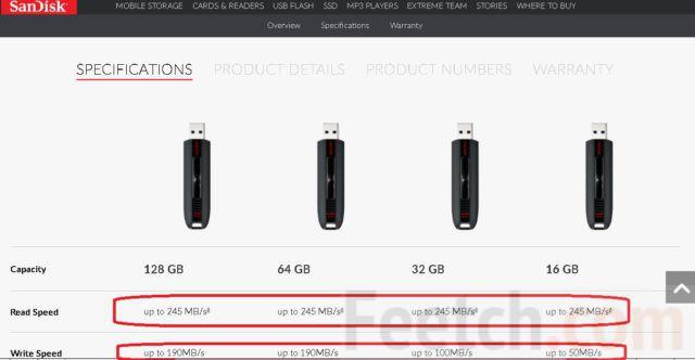 Скрин с вариантами флешек с сайта SanDisk