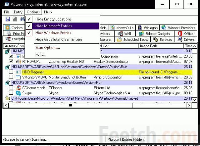 Опция Hide Microsoft Entries