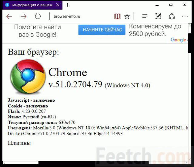 Информация о браузере Chrome