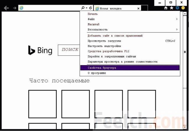 Откройте Свойства браузера