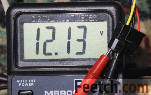 Измерения тестером жёлтого провода